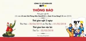 Công ty CP BTE thông báo lịch nghỉ lễ 30/04 và 01/05 năm 2018