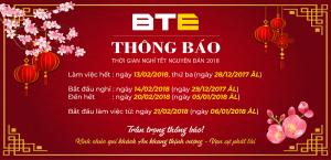 Công ty Cổ Phần BTE thông báo lịch nghỉ tết Nguyên Đán 2018